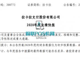 拉卡拉发布2020年度业绩快报:净利润为9.35亿元